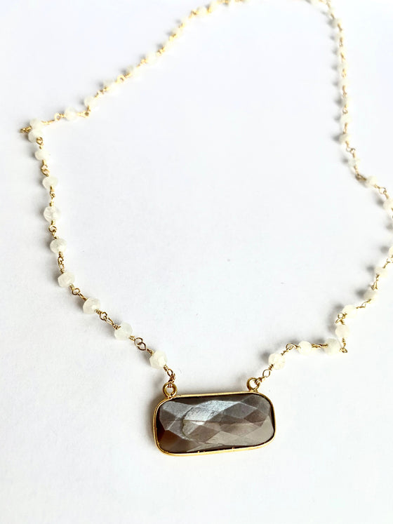 Peach Moonstone Tag with Moonstone Chain