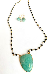 Amazonite and Onyx Necklace