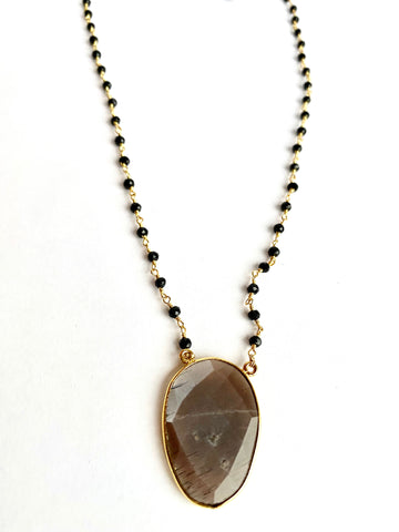 Peach Moonstone and Onyx Necklace