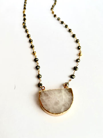 Rose Quartz and Pyrite Necklace