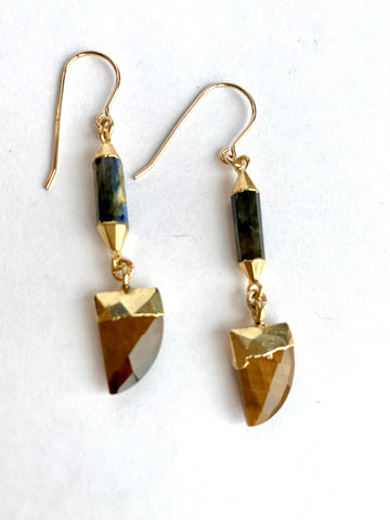 Tiger's Eye and pyrite Earrings