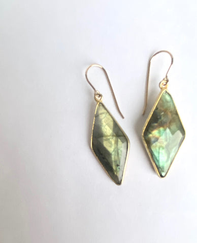 Labradorite Rhombus Earrings