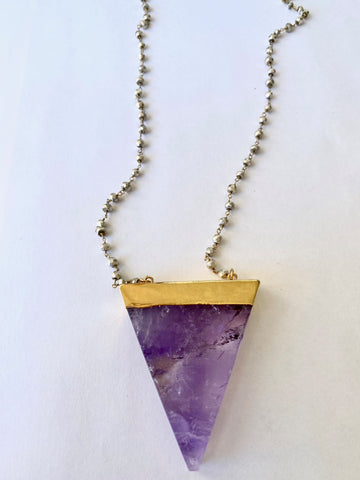 Amethyst and Silver Pyrite Necklace