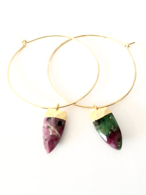 Ruby Fuchsite Gemstone Hoops