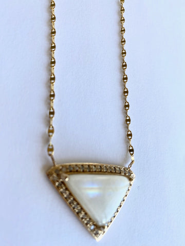 Moonstone and Double Diamond Triangle Necklace