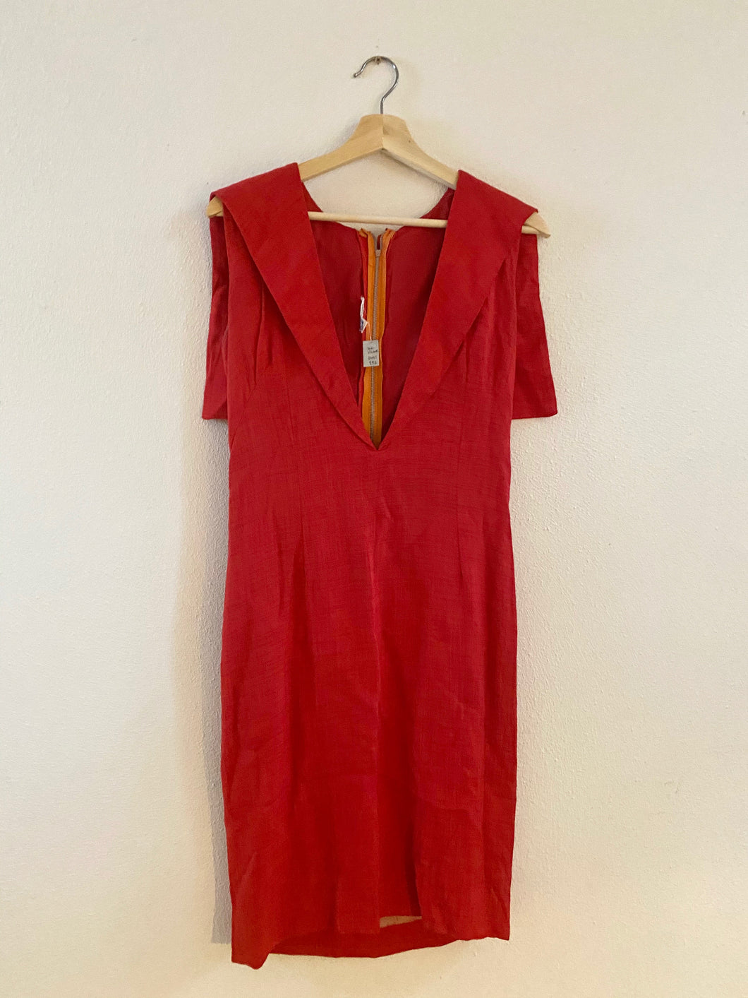 Vintage Red Open-Front Dress