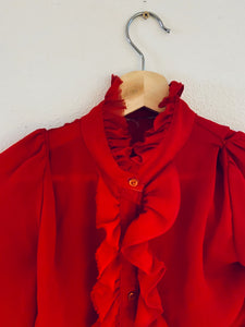 Vintage Red Sheer Blouse