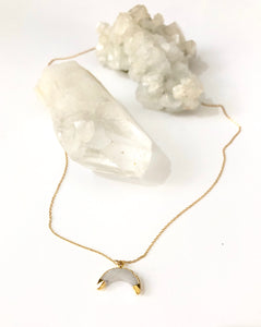 Moonstone Golden Crescent Moon Necklace
