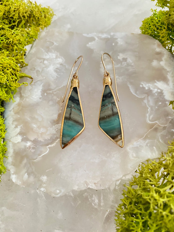 Opalized Wood Angle Earrings