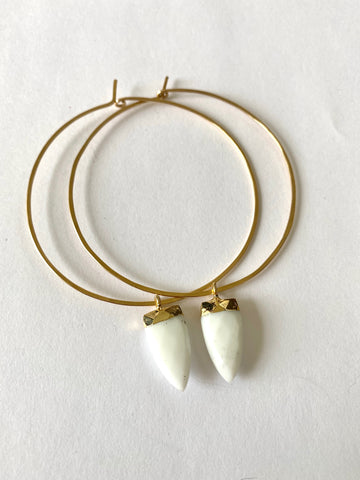White Jade Hoops