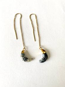 Dendritic Agate Crescent Moon Earrings