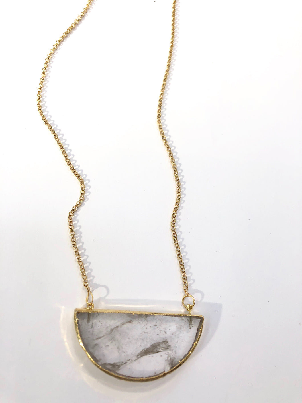 Clear Quartz Half Moon Necklace