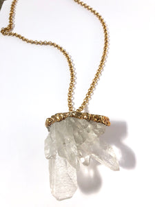 Large Clear Quartz Star Burst Necklace