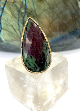 Large Ruby Fuchsite Teardrop Ring