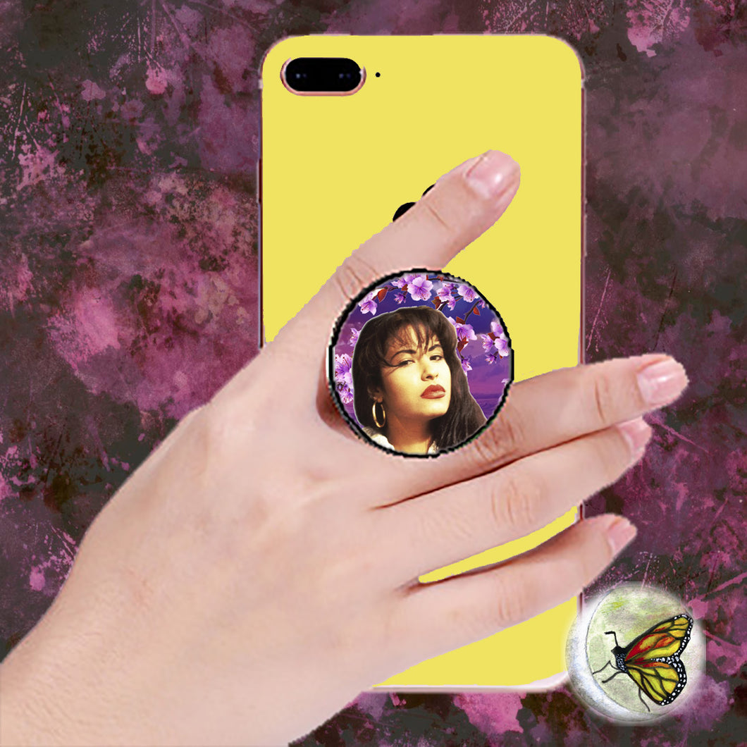 Iconic Purple Blooms Selena Pop Socket