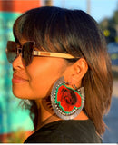 Red Roses A Ray of Light  Hoop Earrings