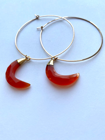 Orange Chalcedony Jumbo Crescent Moon Hoops