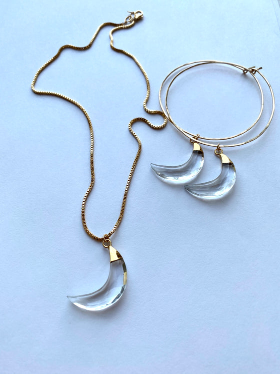 Quartz Jumbo Crescent Moon Necklace
