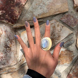 Moonstone Crescent Moon Silver Ring
