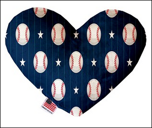 Baseball Pinstripes 8 Inch Heart Dog Toy - Made in USA