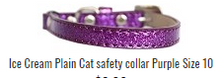 Ice Cream Plain Cat SAFETY Collar  in 3 Sizes and 9 Colors