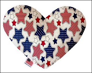 Patriotic Stars 6 Inch Heart Dog Toy - Made in USA