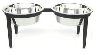 Visions Double Elevated Pet Food Bowl - Small