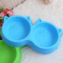 Plastic Cat Face Pet Bowl - Non-toxic Double Food Bowl