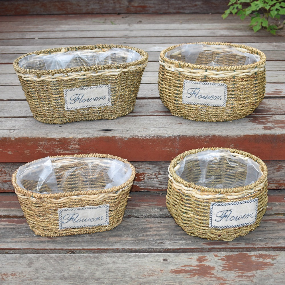 Willow hand woven baskets for flower planter