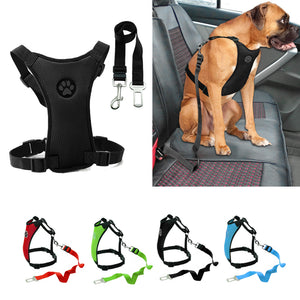 Car Seat Dog Harness and Leash -  4 Colors For Small, Medium, & Large Pet
