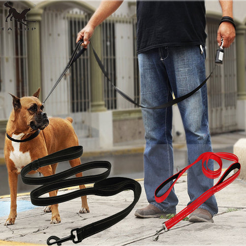 70 inch BIG Dog Leashes 2 Handles - Soft Thick Padded, Reflective, Personalized