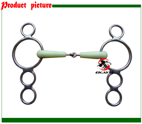 Stainless steel continental gag bit, solid jointed mouth