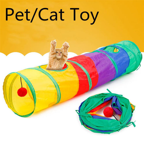 Colorful, Crinkly Kitty Large Play Tunnel with Pendant Ball