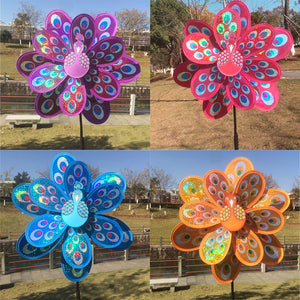 Double Layer Peacock Windmill - Very Colourful Wind Spinner 3 in Set