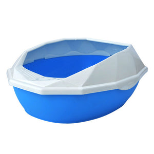 Diamond Cut Detachable Plastic - Anti-Splash Cat  Litter Box, Semi-closed