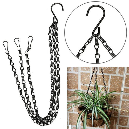 Black Iron Flower Basket Hanging Chain With Hook
