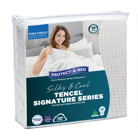 PROTECT-A-BED Tencel Signatures Series Fitted Waterproof Mattress Protector (All Sizes)
