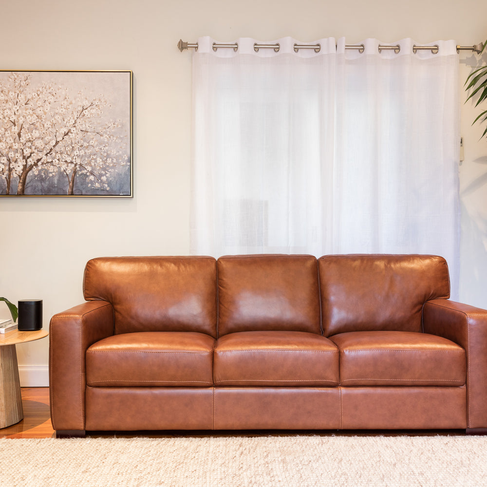 Hugo Tan Leather 3 Seater Sofa