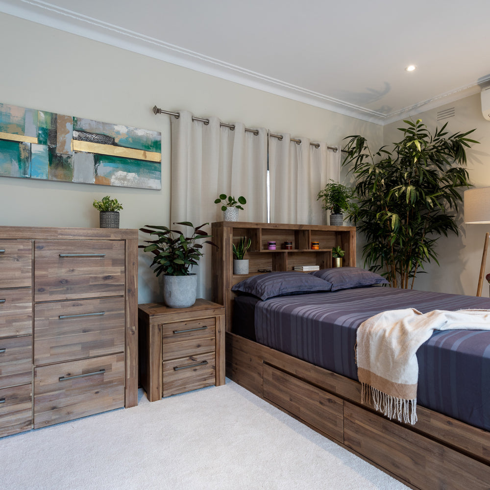 The Storage Bed with Bookcase (Natural Colour)