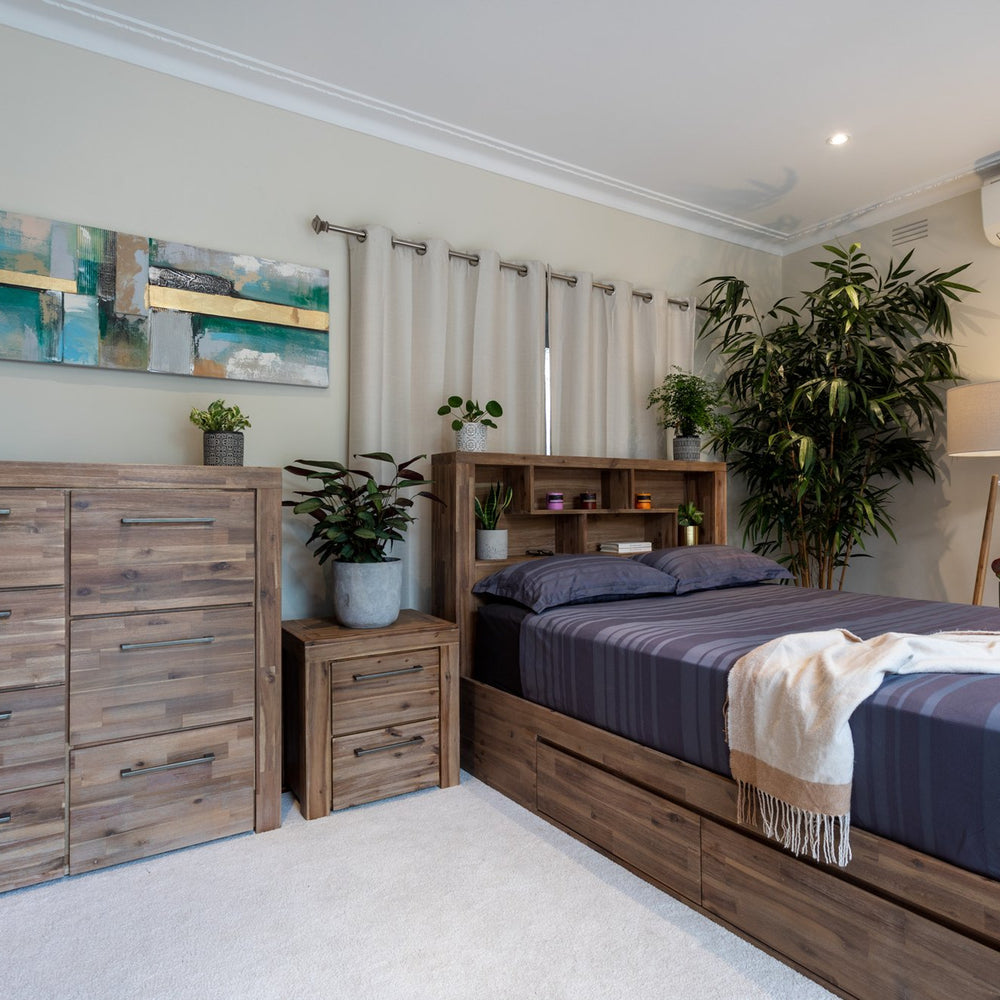 Natural Storage with Bookcase Bed Frame