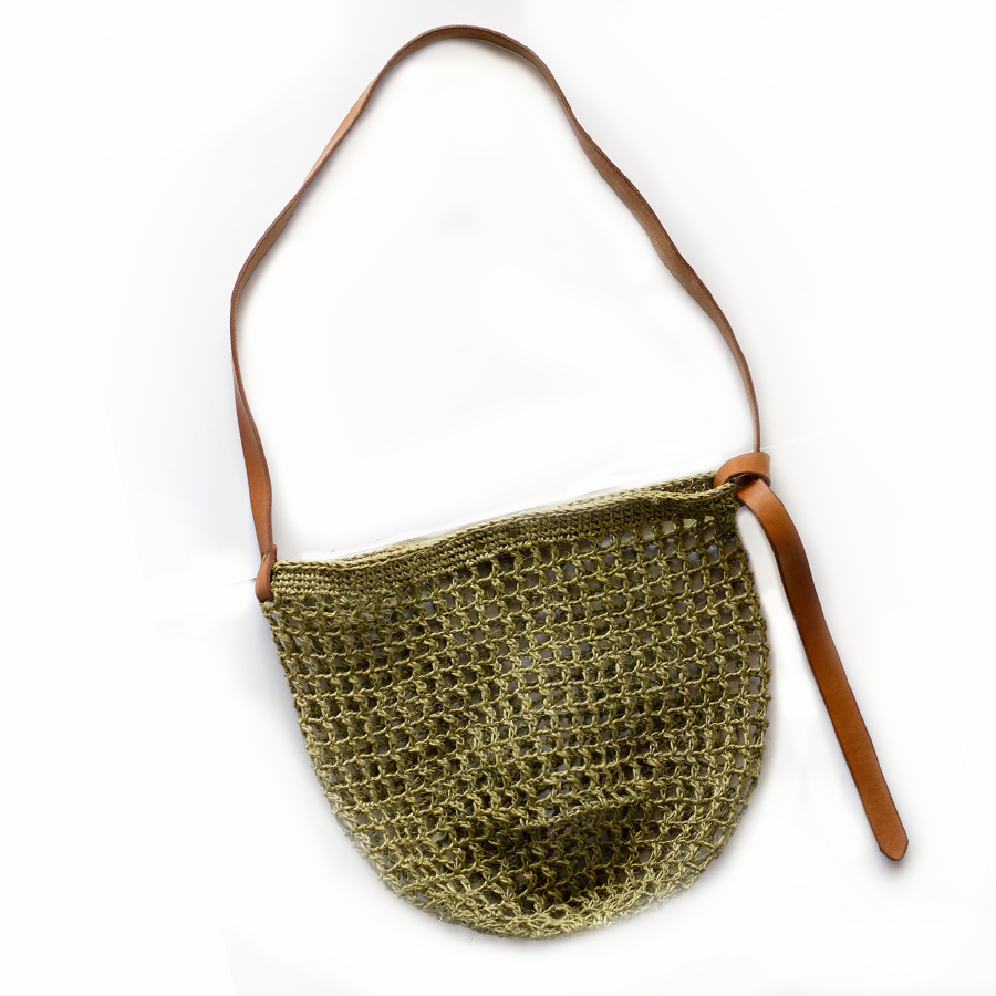 Maria Market Bag with Leather Tie Strap - Forest