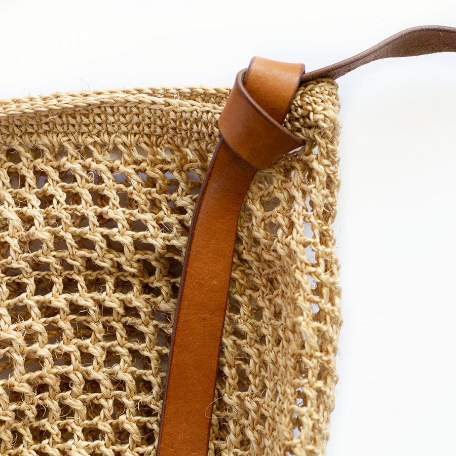 Maria Market Bag with Leather Tie Strap - Brown