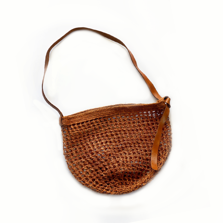 Maria Market Bag with Leather Tie Strap - Orange