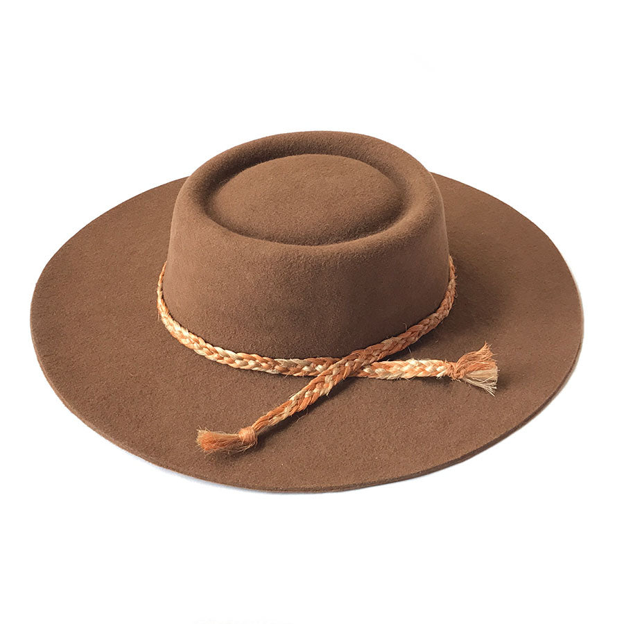Zoila Boater Hat - Brown