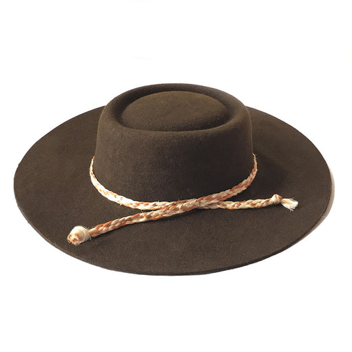 Zoila Boater Hat - Chocolate