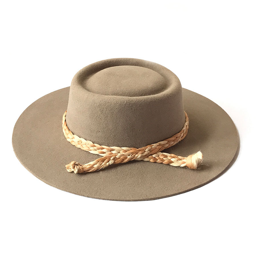 Zoila Boater Hat - Taupe