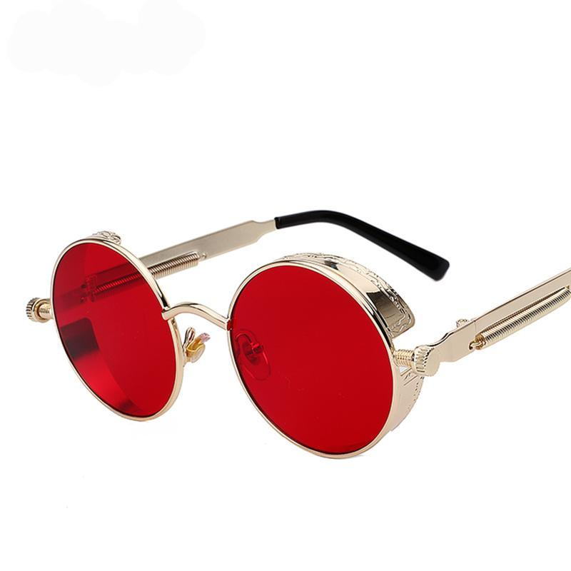 Round Metal Frame Steampunk Sunglasses