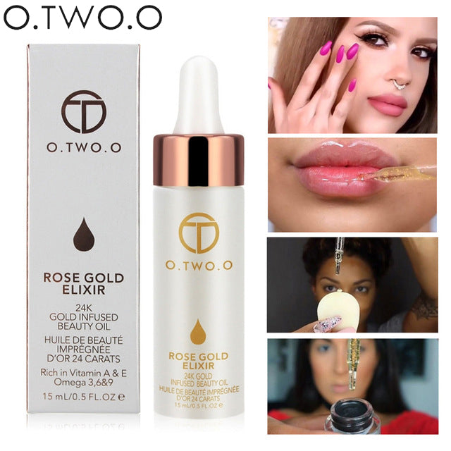 O.TWO.O Brand Primer Face Lips Make Up Moisturizer Easy to Absorb Gold 24K Rose Essential Oil Face Base Makeup Primer