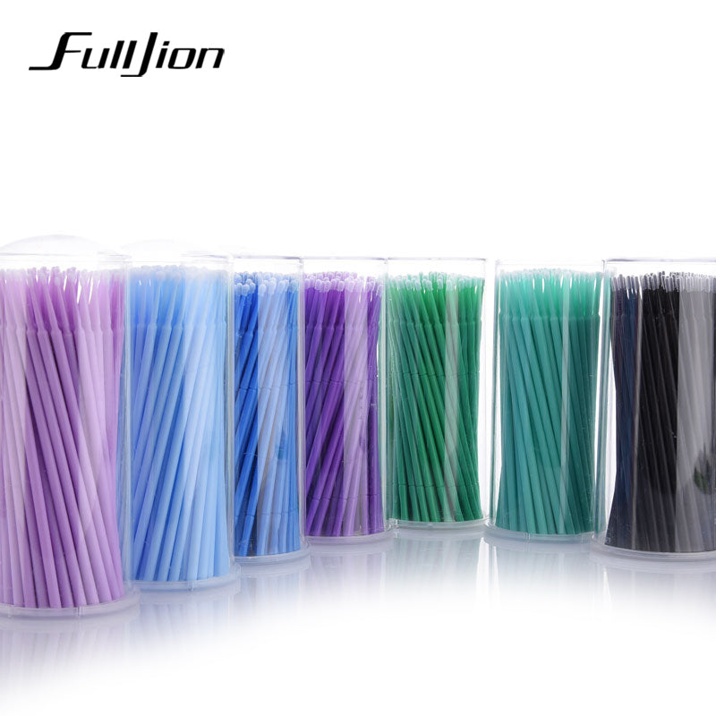 Fulljion 100Pcs/Pack Disposable Makeup Brushes Individual Lash Removing Tools Swab Micro brushes Eyelash Extension Tools