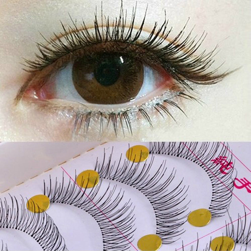 New 20 Pairs Handmade Fake False Eyelash Extensions Tools Natural Fake Eyelashes Look Transparent Stem Make Up Cosmetics Makeup